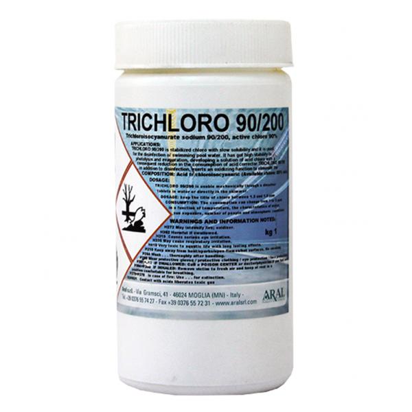 Լողավազանի ջուրը ախտահանող հաբեր TRICLORO 90/200, 1 կգ.