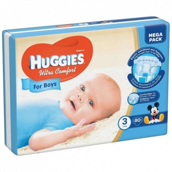 Մանկական տակդիր Huggies Ultra Comfort տղաների համար N3, 5-9կգ, 80 հատ