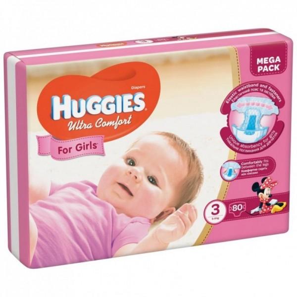 Մանկական տակդիր Huggies Ultra Comfort աղջիկների համար N3, 5-9 կգ, 80 հատ