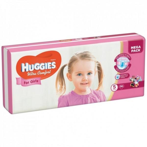 Մանկական տակդիր Huggies Ultra Comfort աղջիկների համար N5, 12-22 կգ, 56 հատ