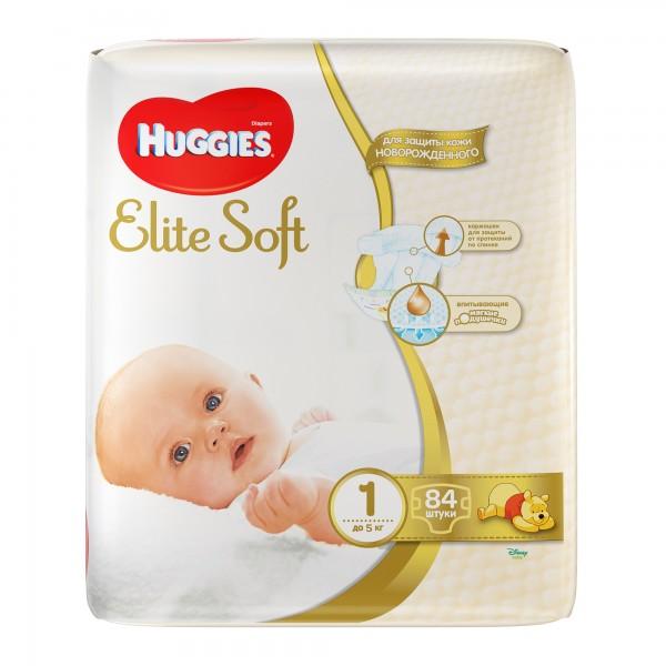 Մանկական տակդիր Huggies Elite Soft N1, մինչև 5 կգ, 84 հատ