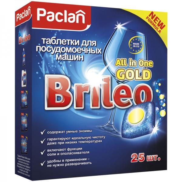 """Սպասք լվացող մեքենայի հաբեր Paclan """"Brileo. All in one Gold"""", 25 հատ"""