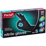 """Մեկանգամյա օգտագործման սև նիտրիլային ձեռնոցներ Paclan """"Practi"""" 50 հատ, չափս S"""